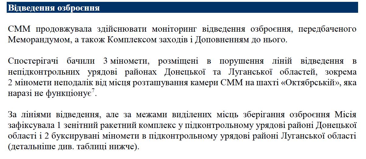 Дані ОБСЄ по мінометів окупантів.