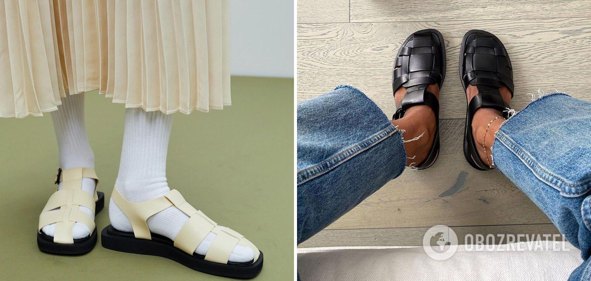Плетеные сандалии с закрытым носом из грубой кожи – must-have этого сезона