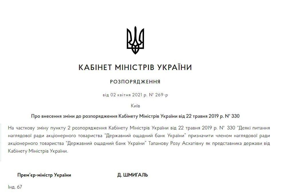 Распоряжение о назначении Тапановой.