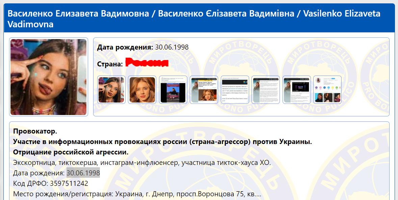 """Єлизавета Василенко потрапила в """"Миротворець""""."""