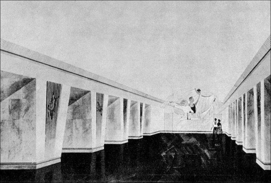 Эскиз, по которому выполнено современное оформление станции.