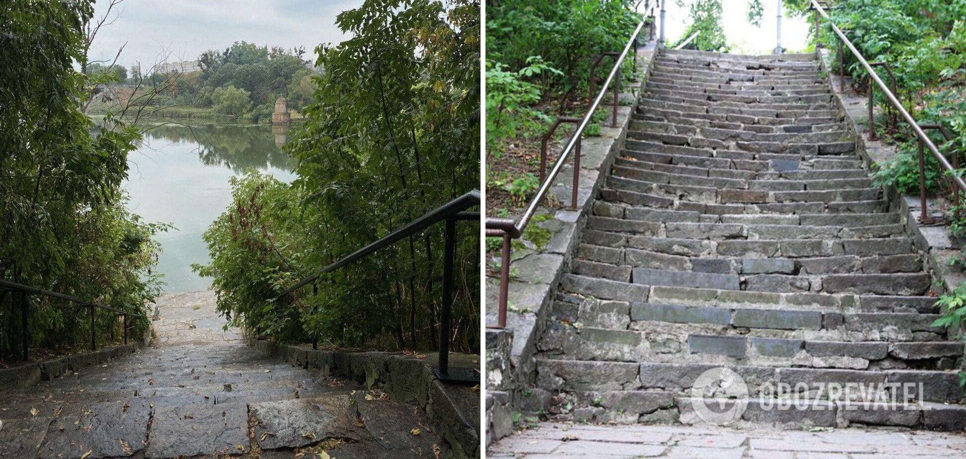 Лестница ведет прямо к реке.