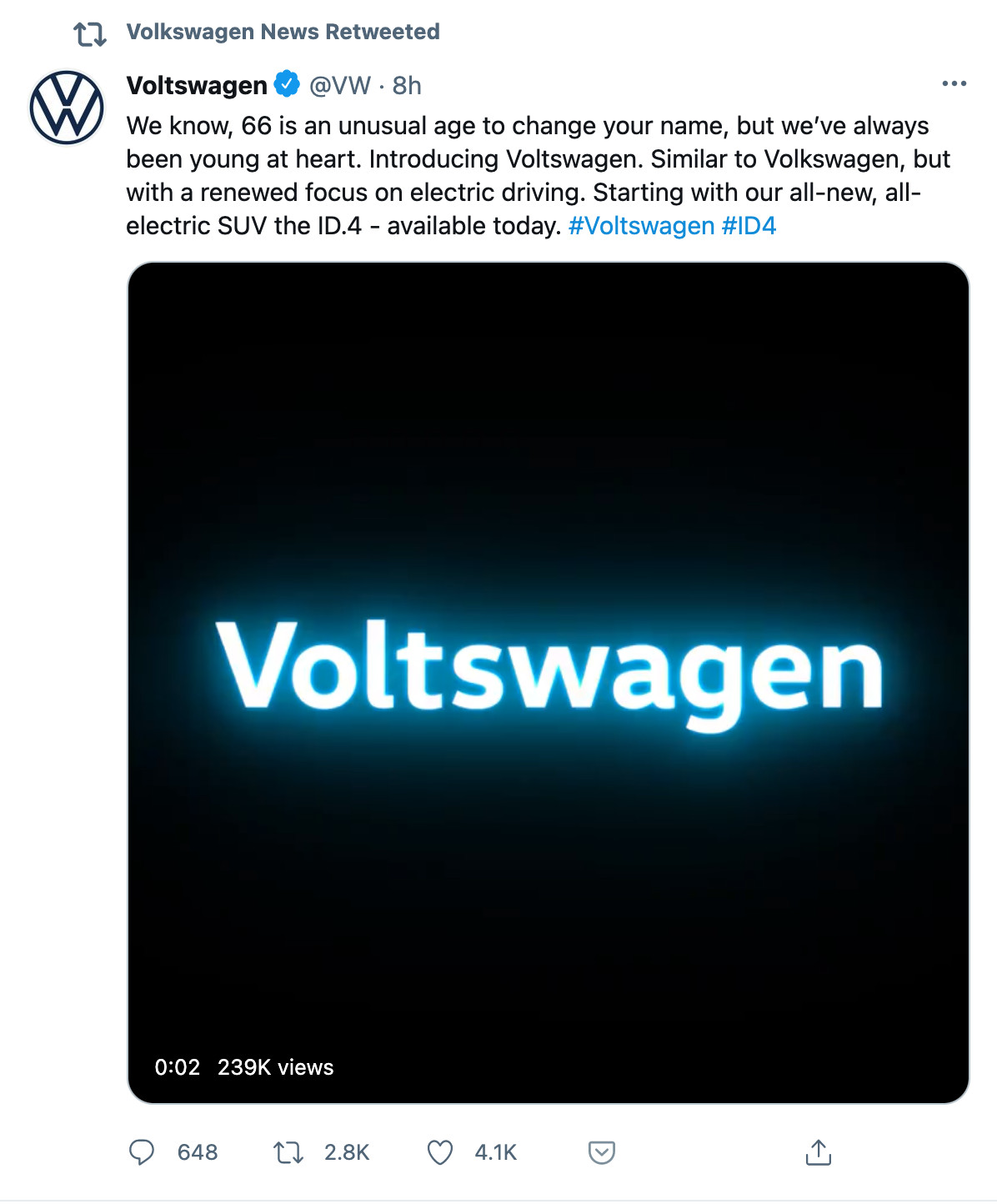 Повідомлення Volkswagen про перейменування було опубліковано 29 березня