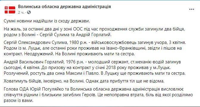 Facebook Волинської ОДА.