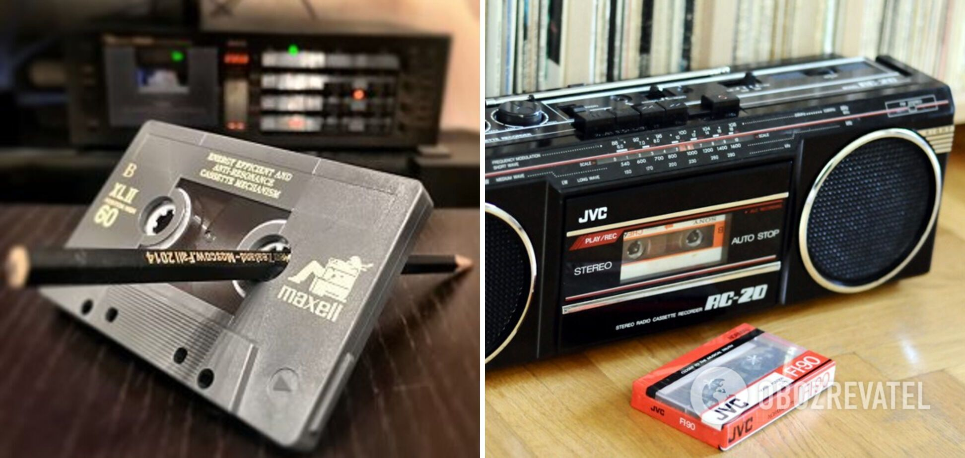 Магнітофон з касетами, де вручну перемотували музику олівцем
