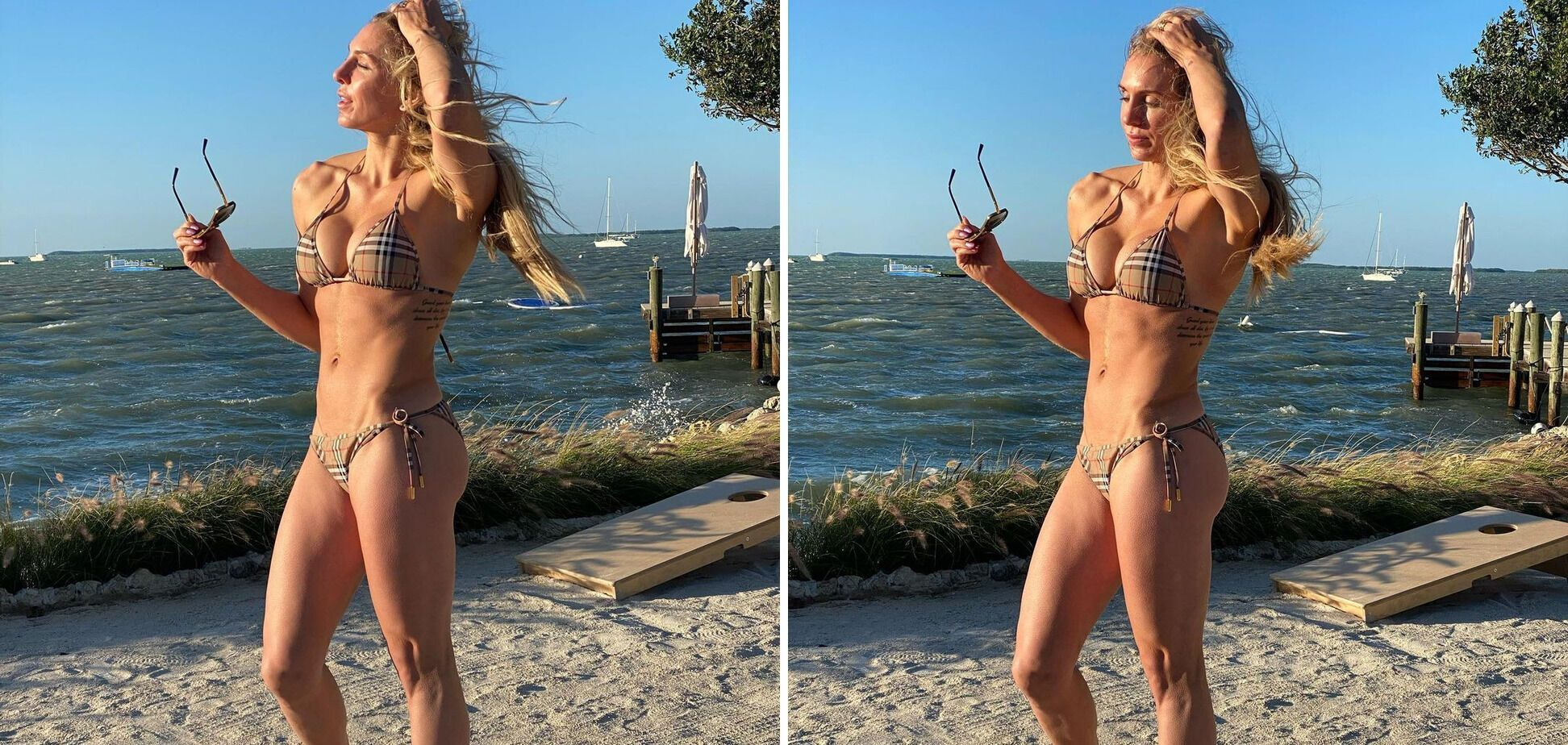 Шарлотт Флер на пляжі