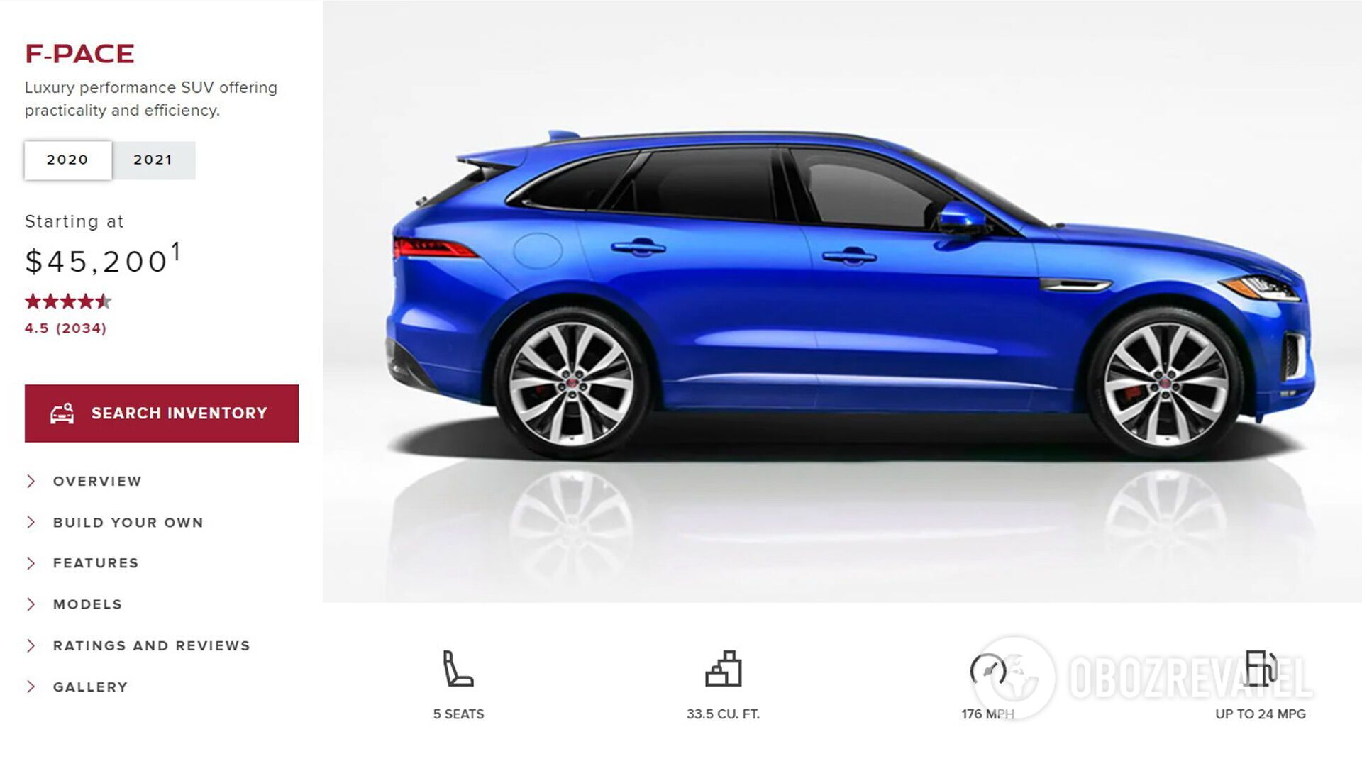 У официального дилера марки Jaguar в США модель F-Pace 2021 года стоит от $49995