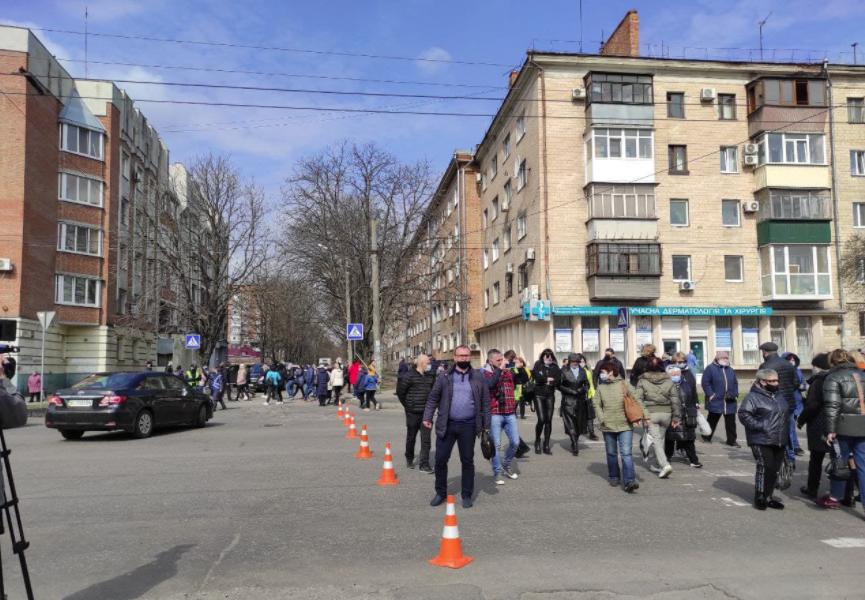 Акция протеста против карантина в Полтаве