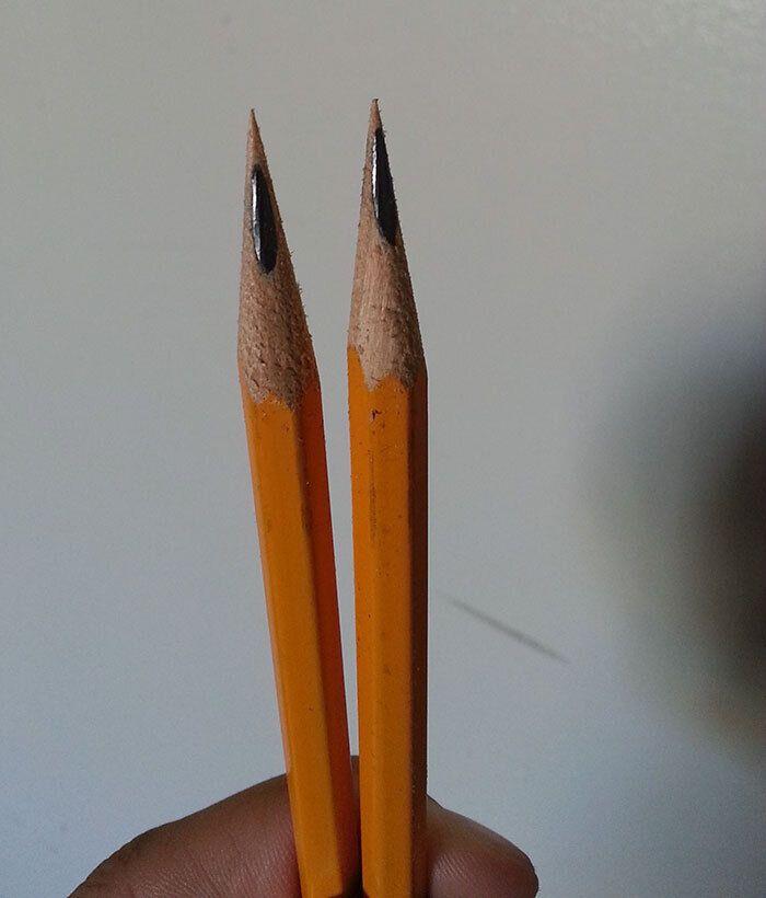 Олівець заточується тільки з одного боку.