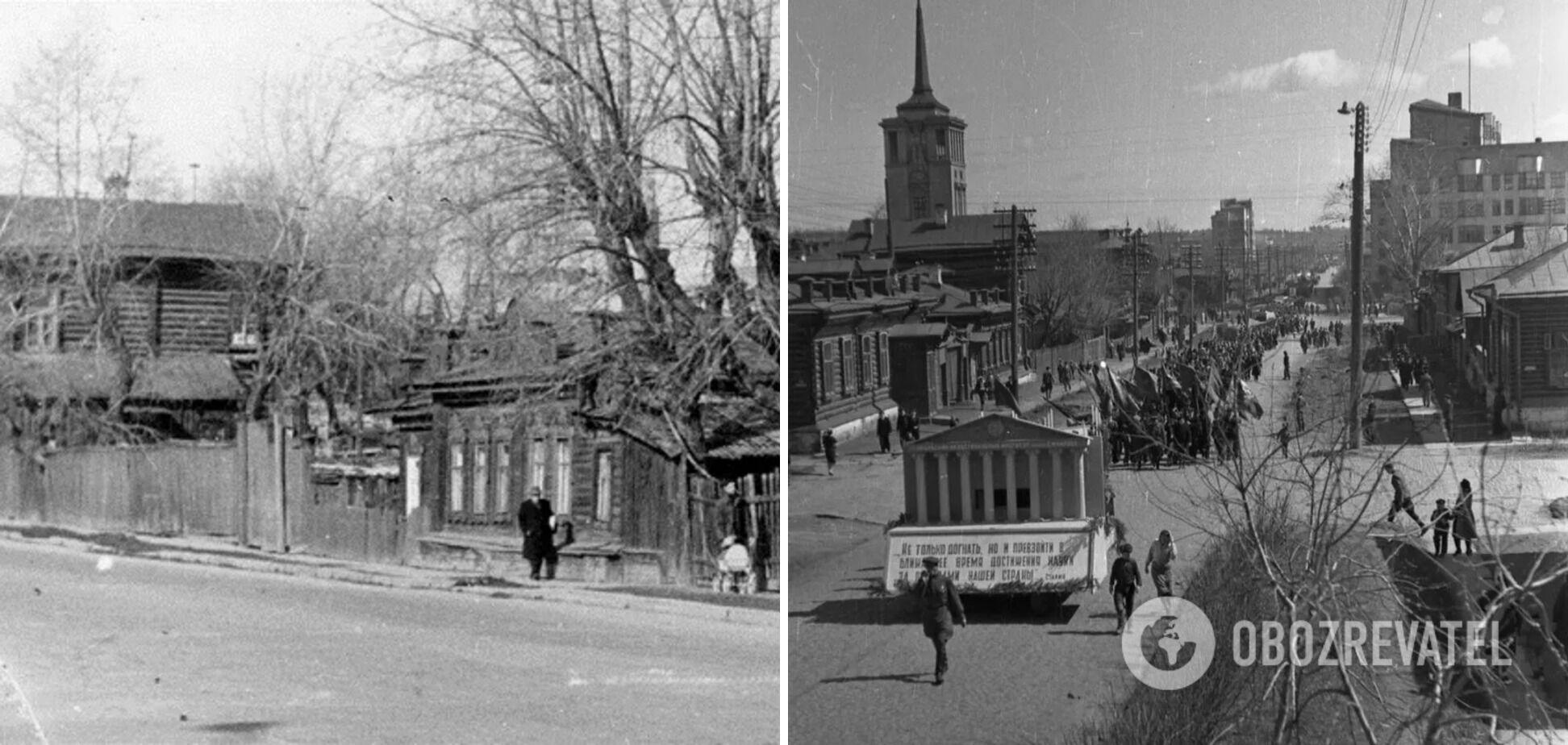 Первомайская улица в Свердловске, на которой проживала первая жертва маньяка. Как оказалось позже, убийца обитал в соседнем доме – он слева на второй части фото