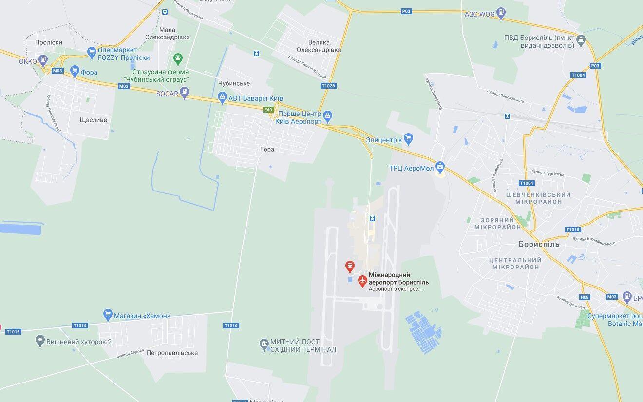"""Аварія сталася поблизу аеропорту """"Бориспіль""""."""