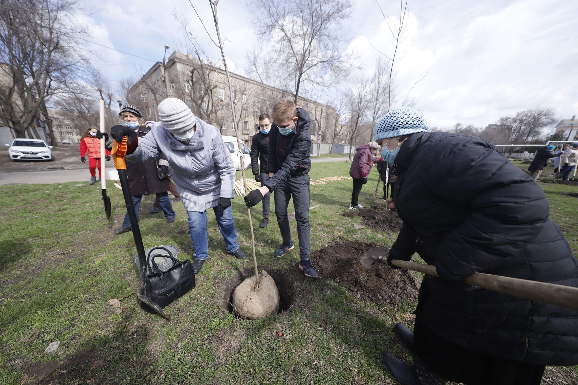 Всего в ходе проведения акции #Дніпро_квітучий высадят более 10 тыс. деревьев и кустов