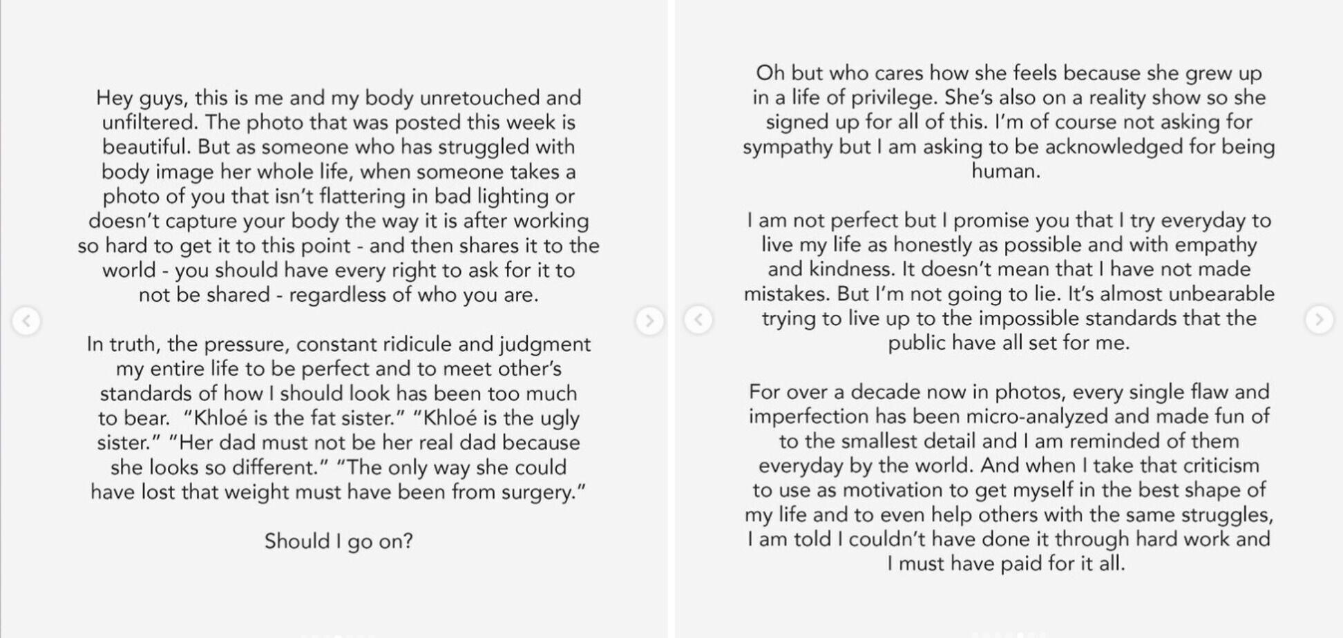 Хлої Кардаш`ян відповіла на критику її фігури