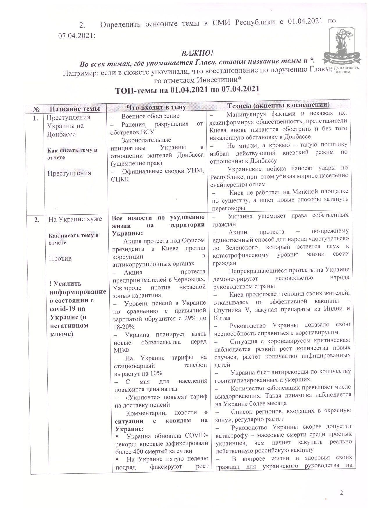 """Скриншот """"темника"""" пропагандистов из """"ДНР"""""""
