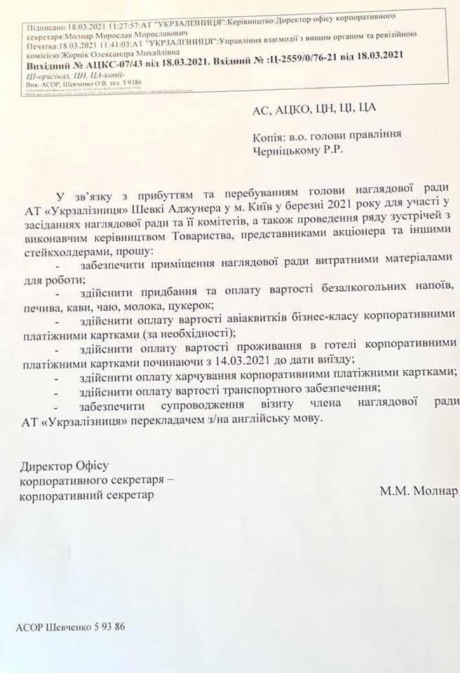 Береза опубликовал документы по оплате визита Шевки Аджунера