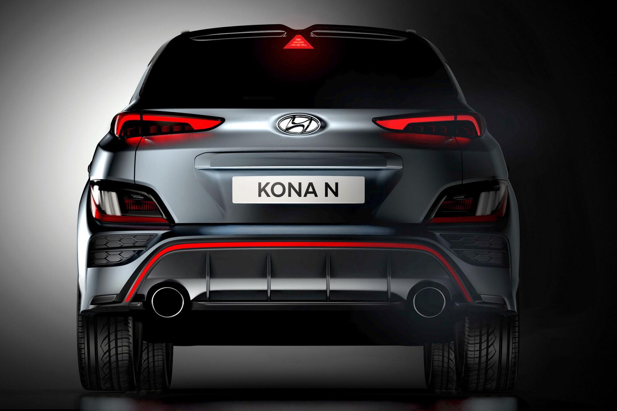Kona N получила новый задний бампер с диффузором и крупными патрубками выхлопной системы