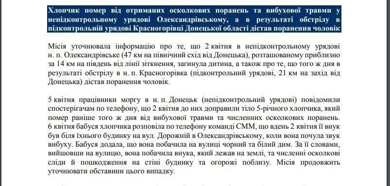 Фрагмент ежедневного отчета СММ ОБСЕ по ситуации на Донбассе