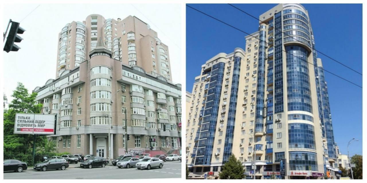 Высотка на Антоновича (слева) и ЖК на Московской (справа), где есть жилье у Вакарчука