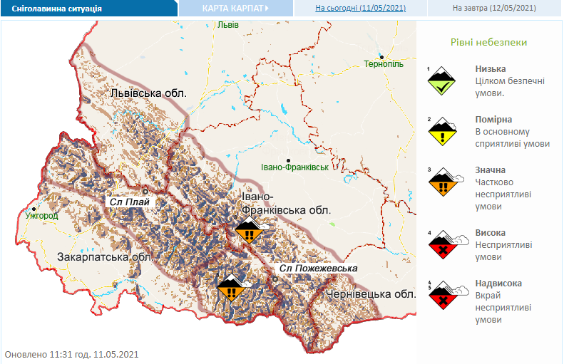 В Украине 12 мая сохранится опасность схода лавин.