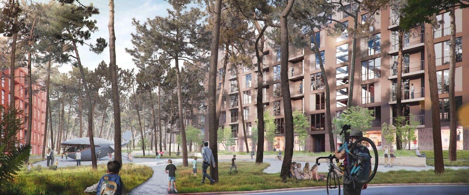 О2 Residence разделен на внешний и внутренний дворы, бульвар, набережную и парки для отдыха