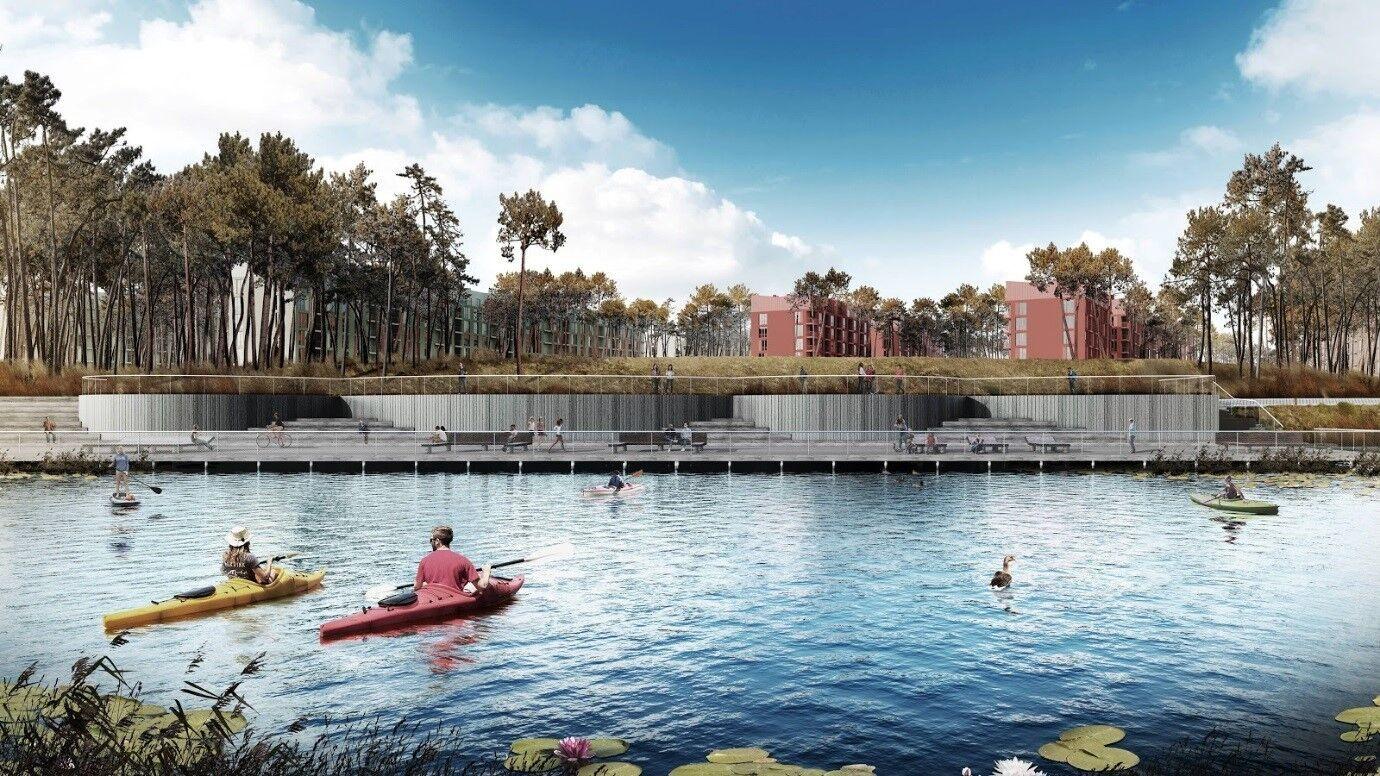 O2 Residence расположен рядом с озером, к которому будут иметь доступ все жители