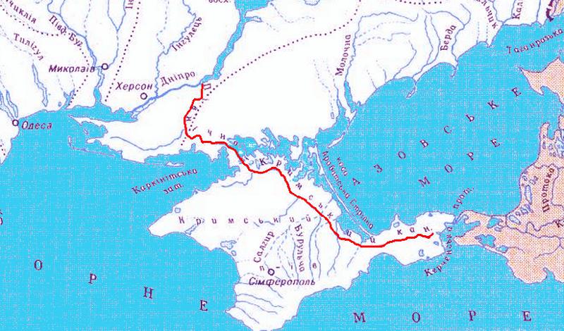 Карта Северо-Крымского канала