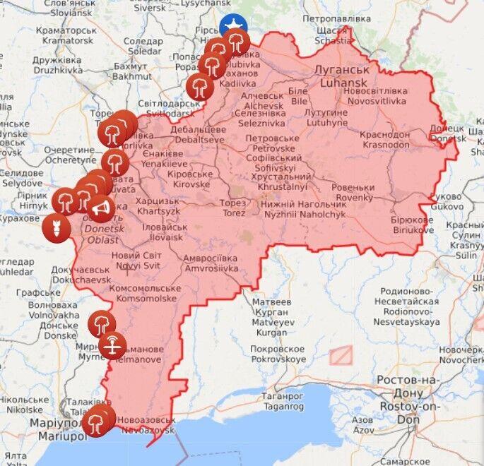 Карта обстрілів і порушень на Донбасі