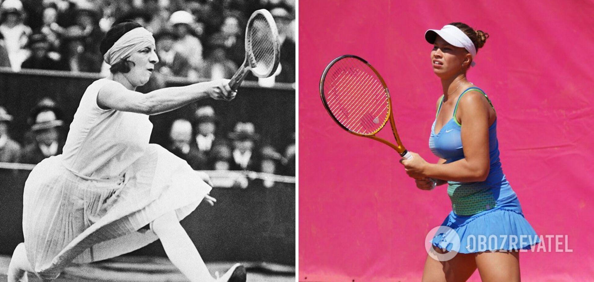 Костюм теннисисток 100 лет назад и сейчас.