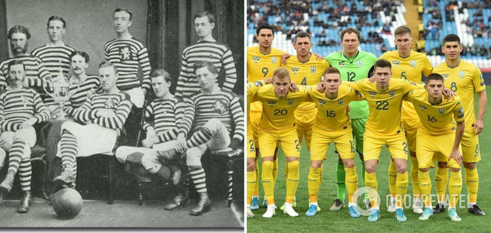Шотландская команда в 1873 году и современные футболисты