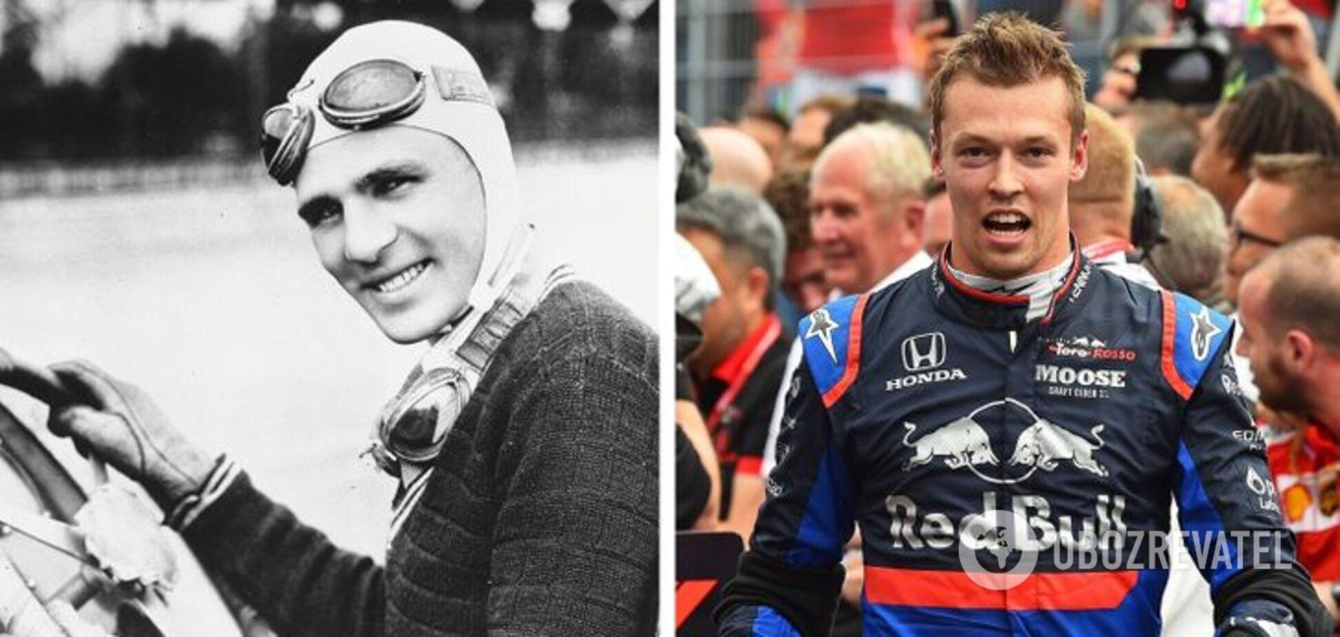Луис Мейер 1930-х годов и современный гонщик.