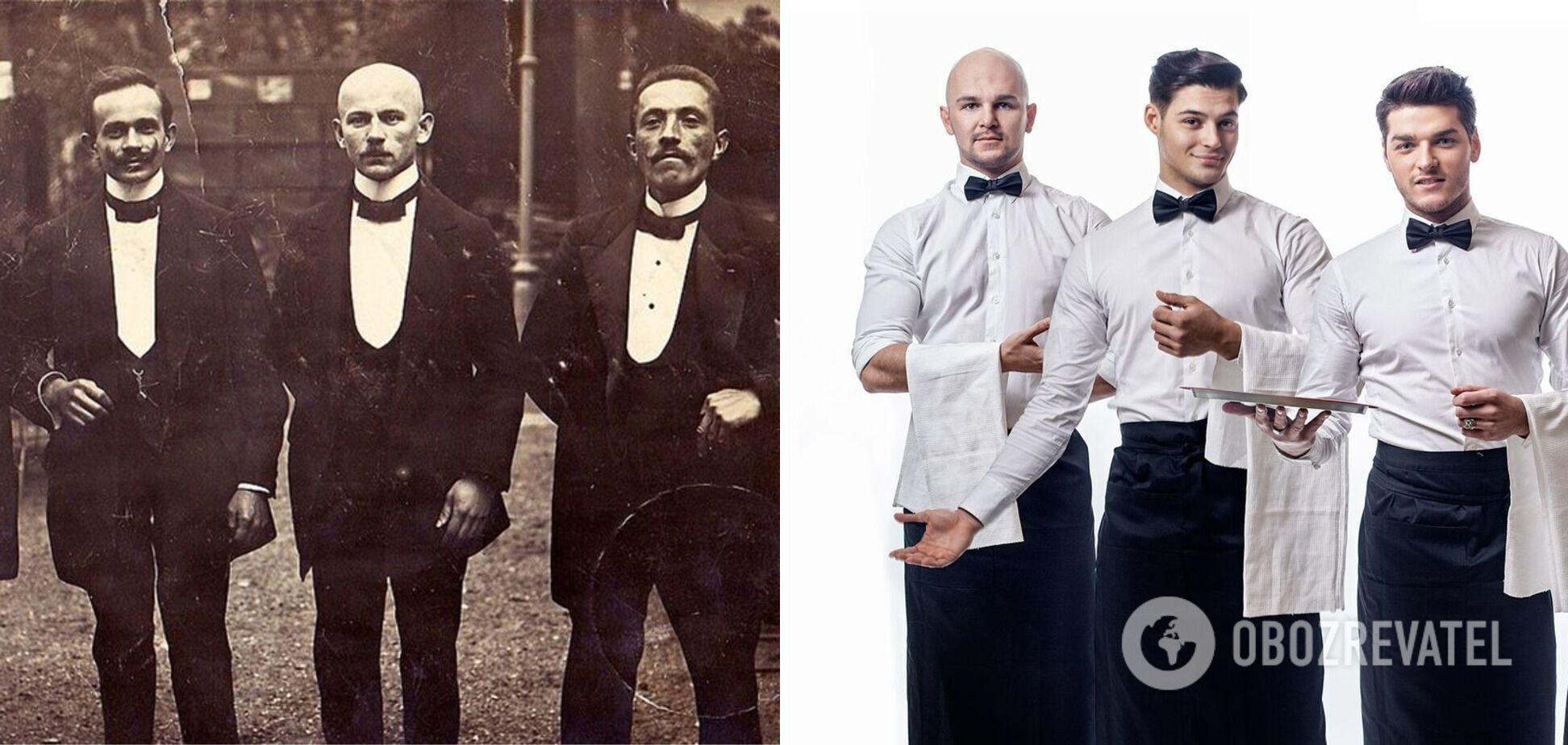Официанты в 1931 году и современные работники ресторана выглядят элегантно.