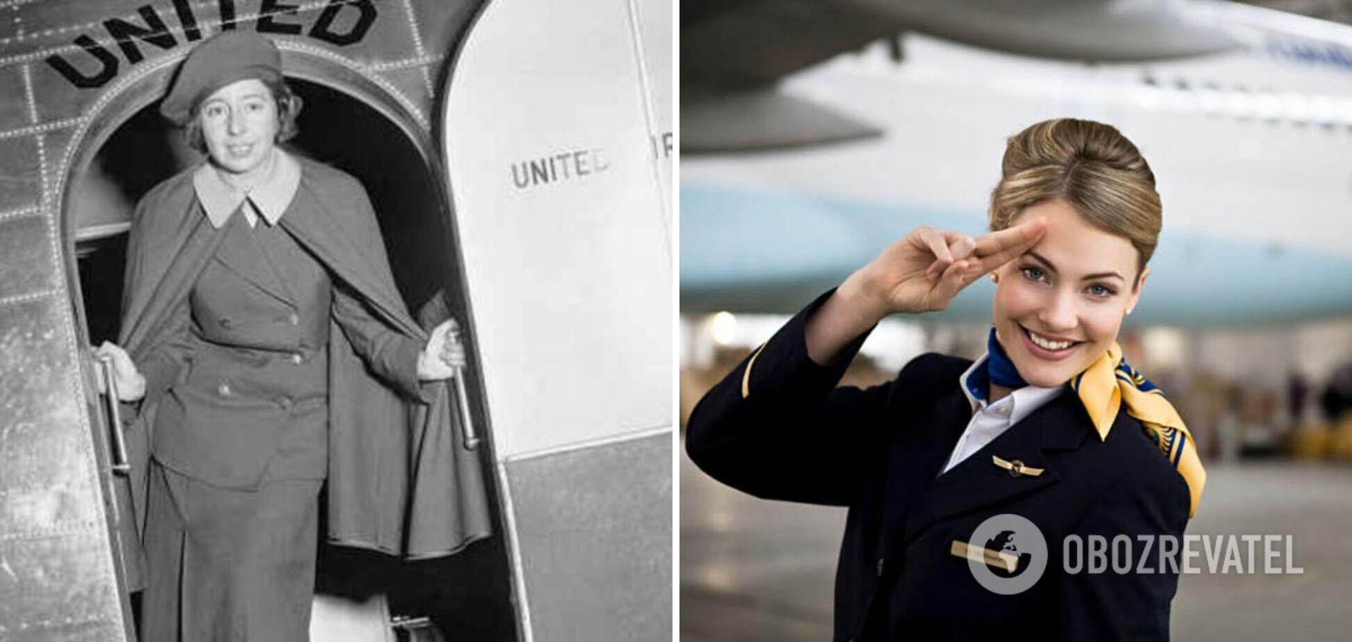 Первая стюардесса и современная бортпроводник.