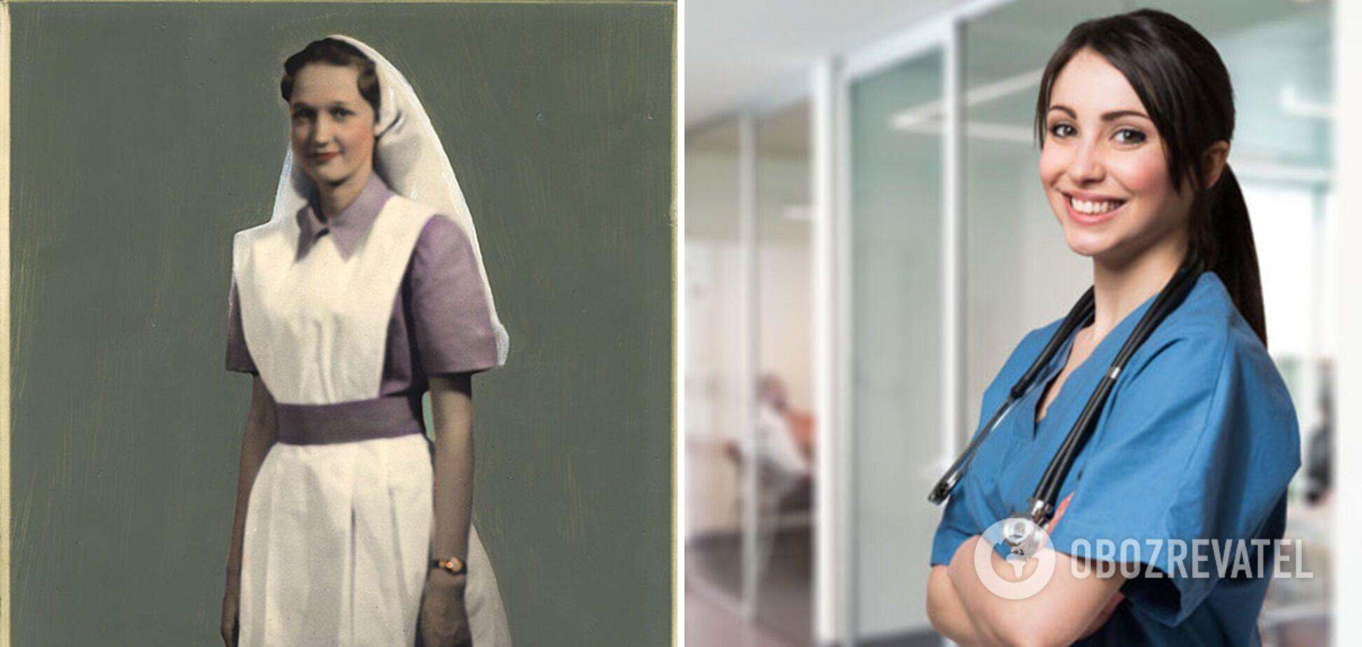 Медсестра в начале XX века и современный врач.