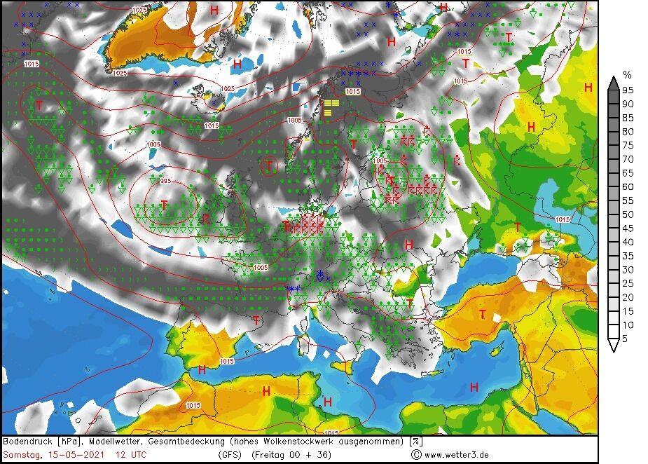 Карта погоды в Украине 15-16 мая