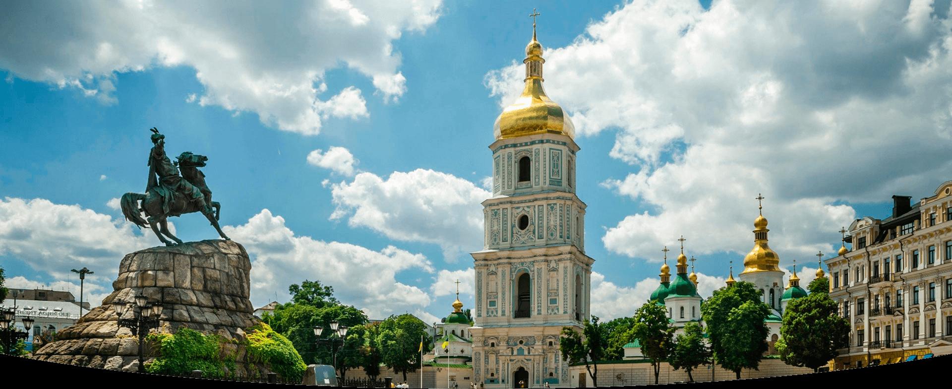 Вид на колокольню Софийского собора с Софийской площади