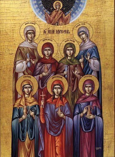 Жены-мироносицы в ночь Воскресения Иисуса Христа поспешили к Его гробу, чтобы по обычаю умастить тело распятого Спасителя благовонными маслами