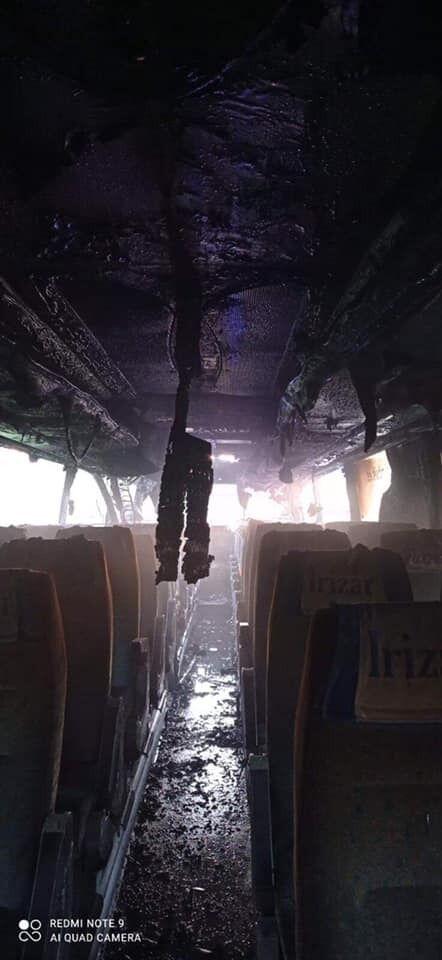 Наслідки пожежі в автобусі