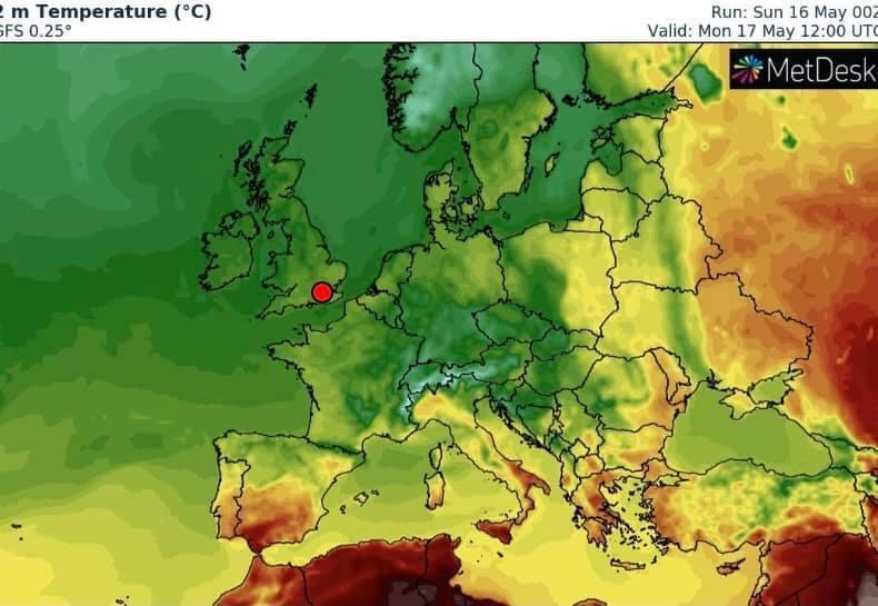 Похолодання найбільше зачепить смугу від Київщини до Одещини (зелена смуга на карті)