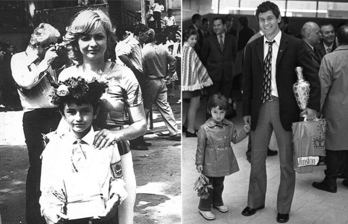 Зліва: піонер Разван Луческу з мамою Неллі; справа: Мірча Луческу із сином Разваном.