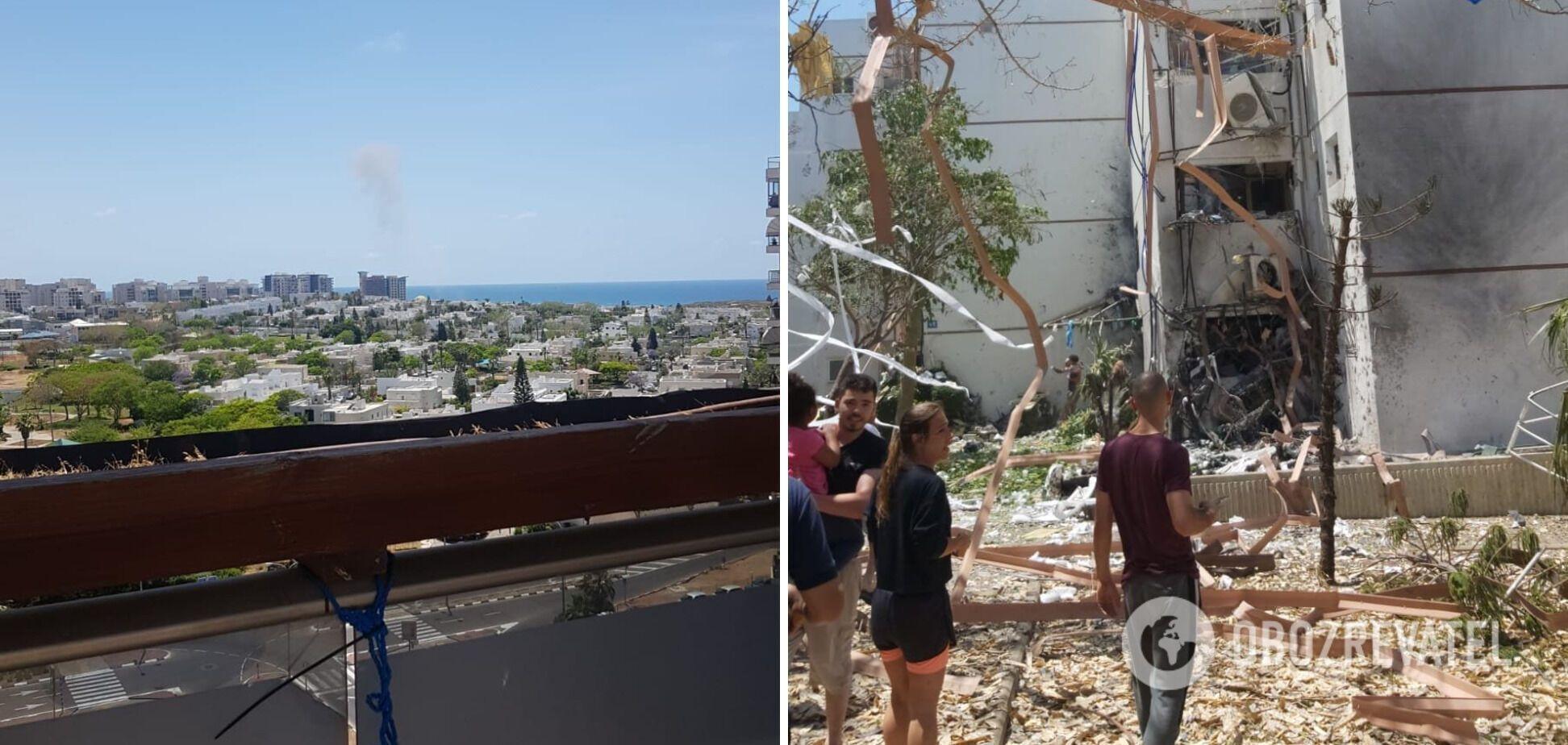 Поврежденное здание в результате удара ракетой