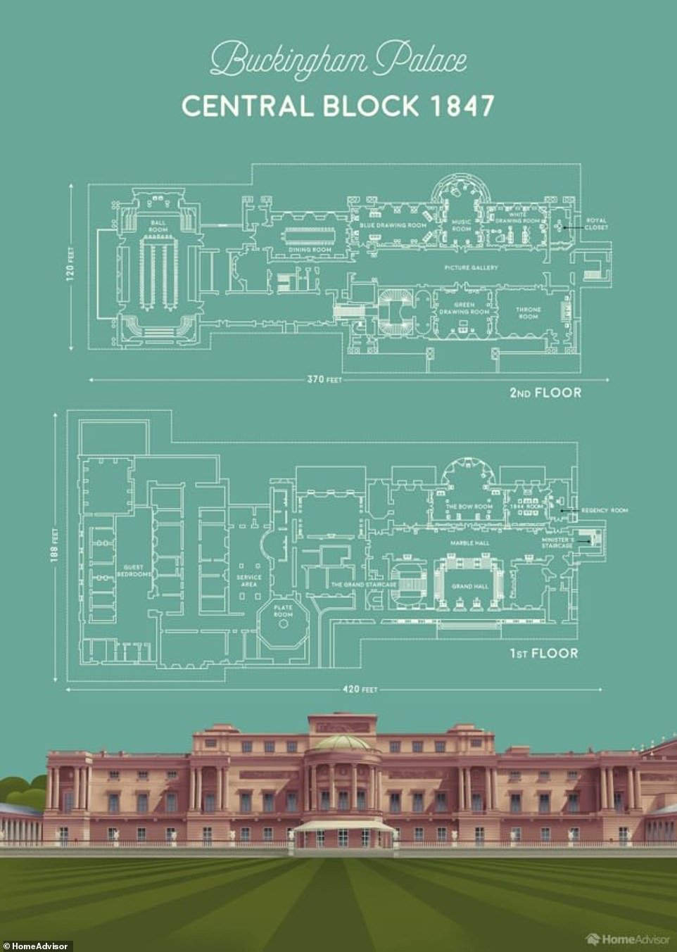 При входе в центральный блок Букингемского дворца расположена большая лестница