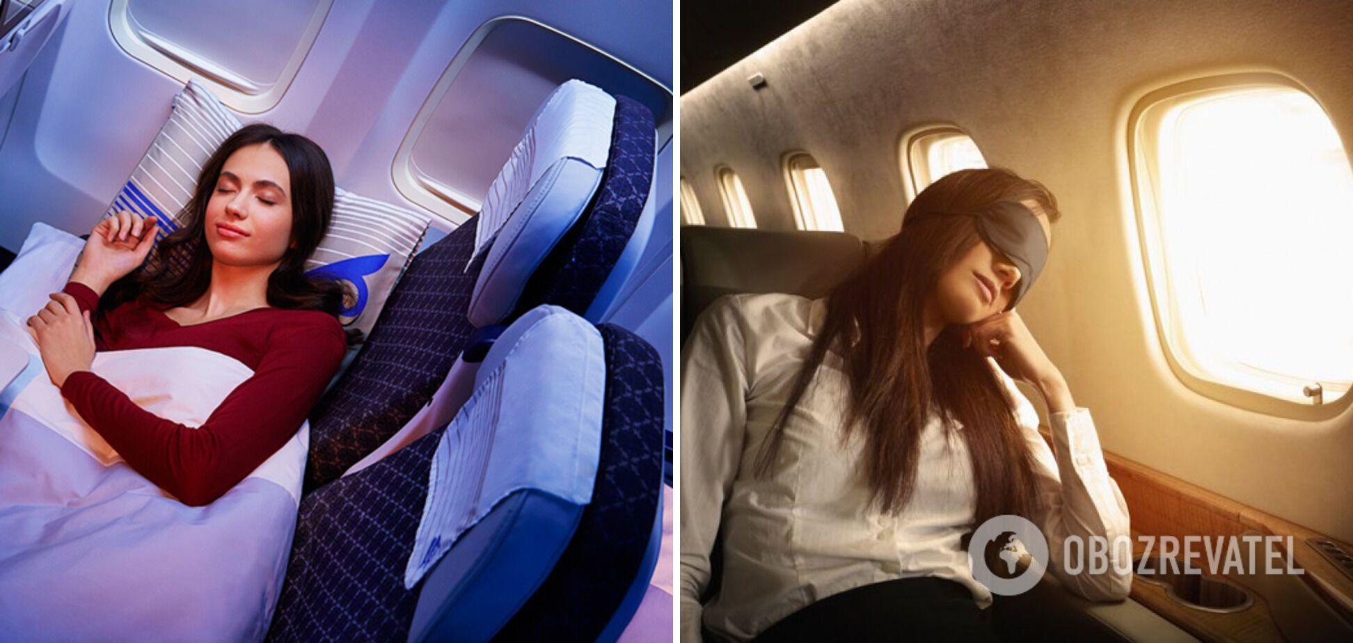 Пассажиры любят спать на борту самолета.
