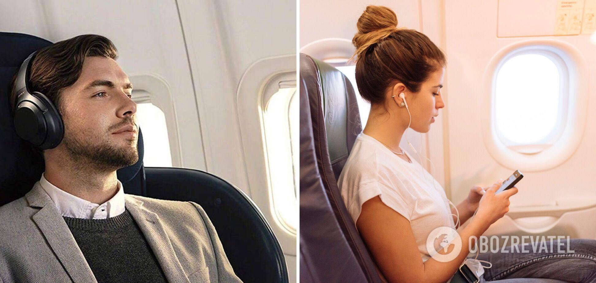 Во время взлета и посадки нужно снимать наушники.
