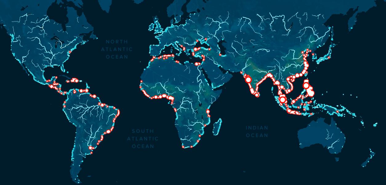 Карта річок і регіонів, що забруднюють Світовий океан