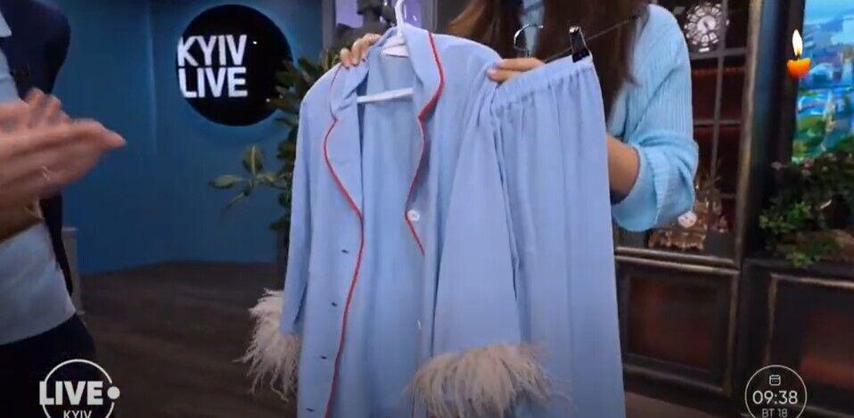 Пижамный костюм с перьями – новый летний тренд.
