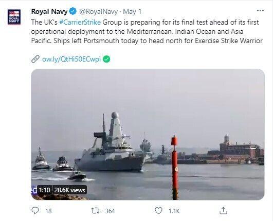 """Новейший авианосец Великобритании """"Queen Elizabeth"""" 1 мая вышел в первый поход."""