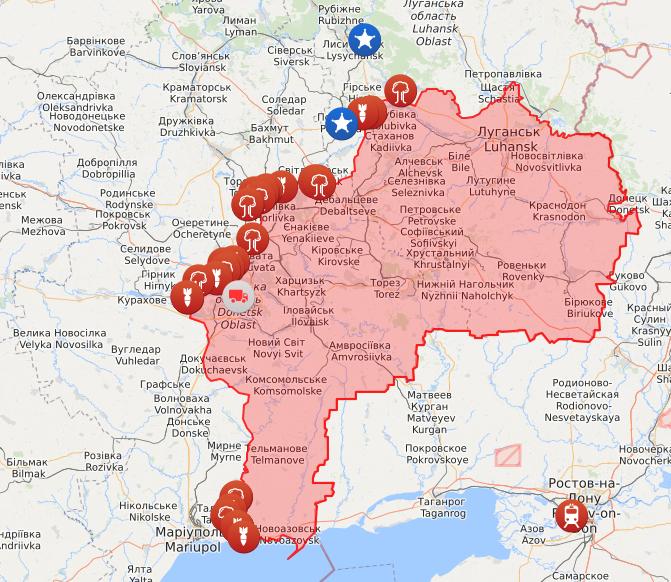 Карта війни на Донбасі на 2 травня.