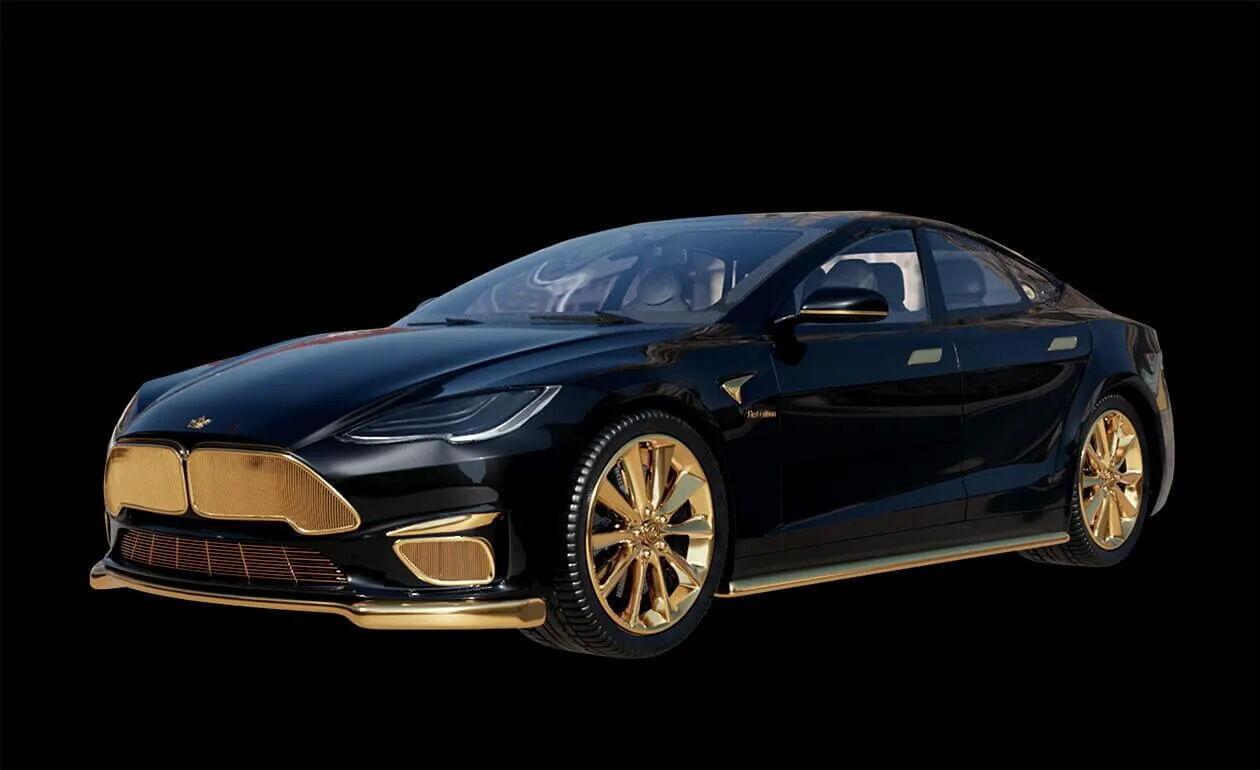 Tesla Excellence покрыли золотом 999 пробы.