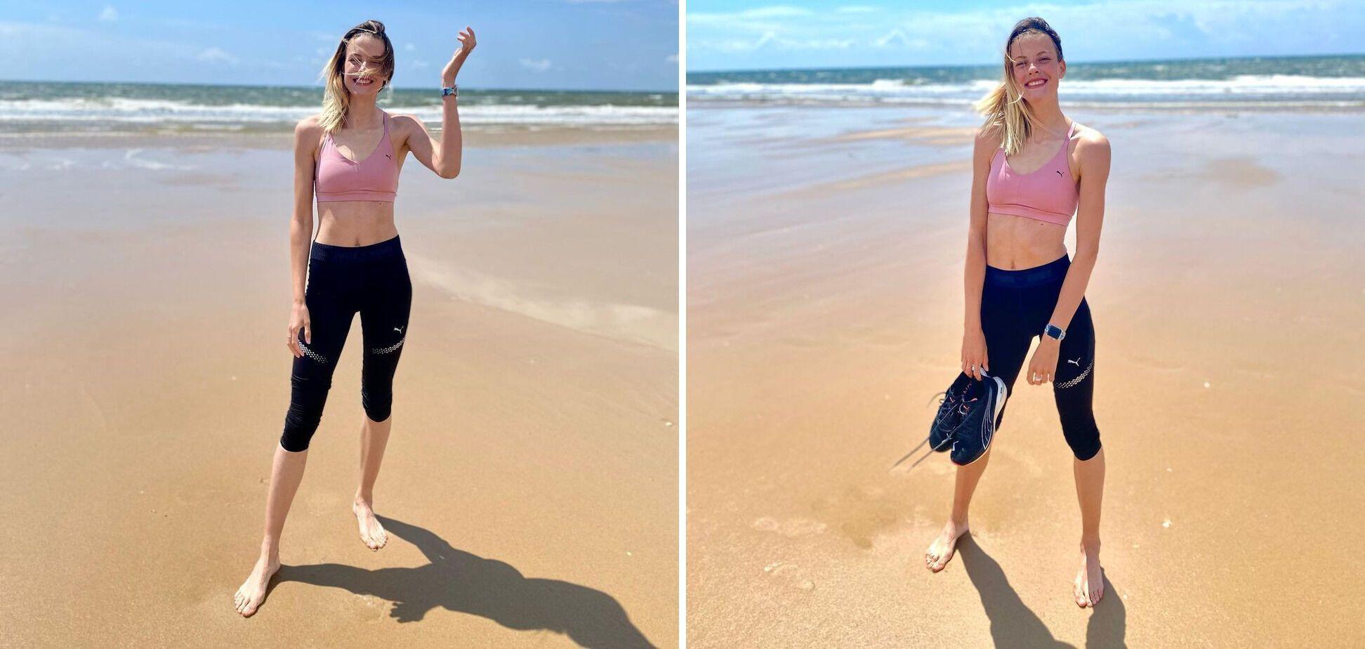 Ярослава Магучіх на пляжі