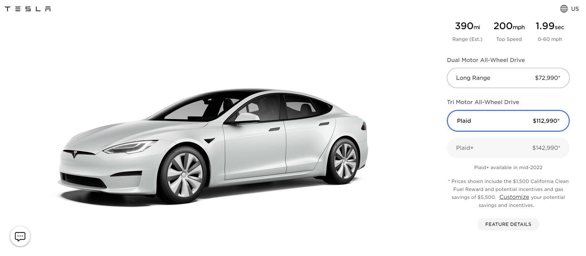 """Model S Plaid оценили в $112990, а """"дальнобойная"""" Plaid+ обойдется в $142990"""